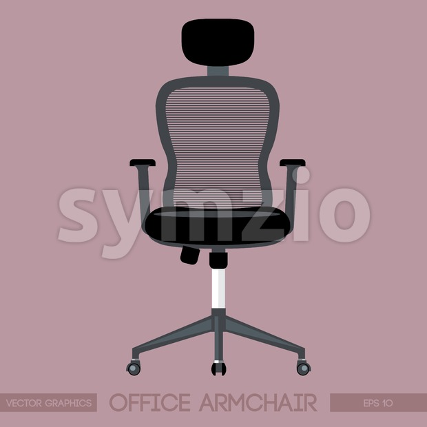 Black modern office armchair over pink background. Digital vector image Stock Vector
