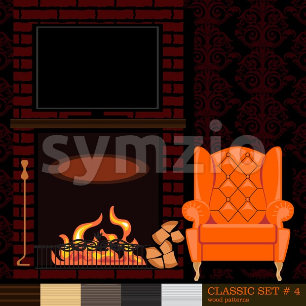 Classic style interior set, flat style. Digital vector image Stock Vector