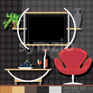 Modern style interior set, flat style. Digital vector image Stock Vector