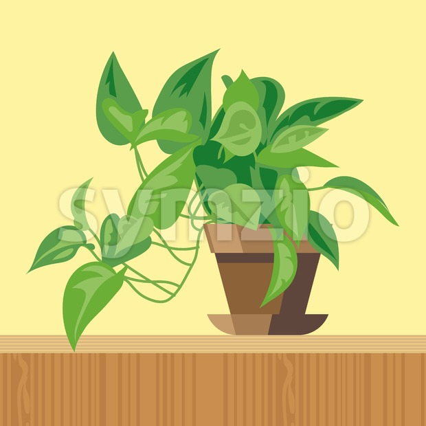 Office plant, flat style. Digital vector image