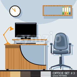 Office style interior set. Digital vector image Stock Vector