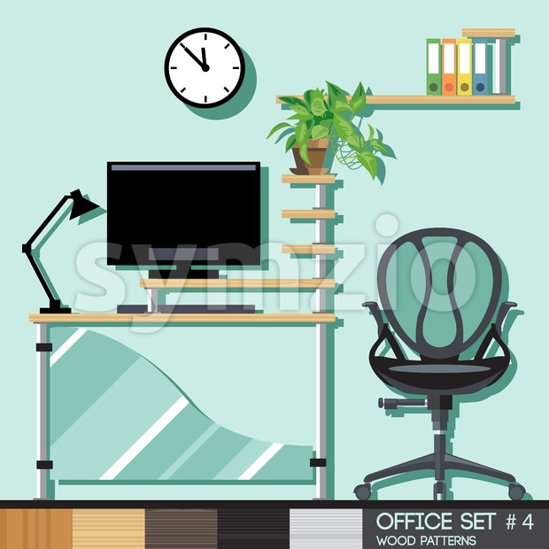 Office style interior set. Digital vector image