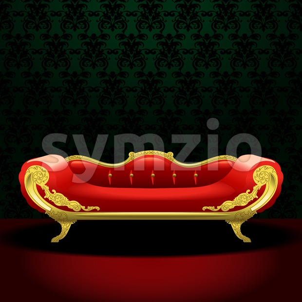 Royal red bed, flat style over green background. Digital vector image