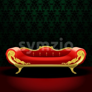 Royal red bed, flat style over green background. Digital vector image Stock Vector