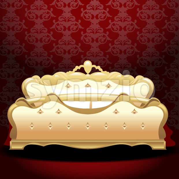 Golden royal bed, flat style over red background. Digital vector image
