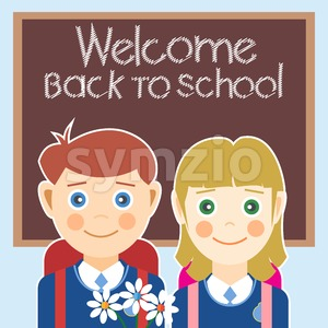 Welcome back to school card with a boy, a girl and flowers. Digital vector image Stock Vector
