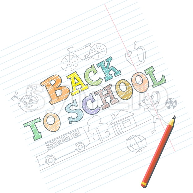 Welcome back to school card with kid sketches on notebook. Digital vector image Stock Vector