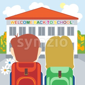 Welcome back to school card with a boy, a girl and flowers in front of the building. Digital vector image Stock Vector