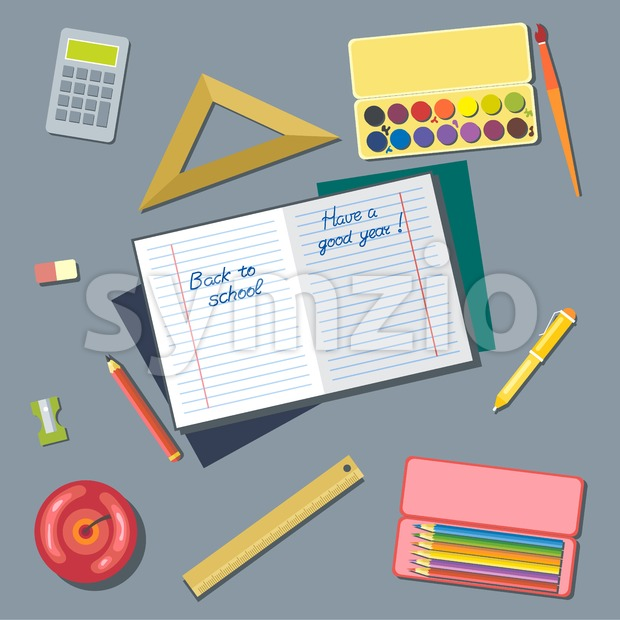 Welcome back to school and have a good year card. Digital vector image