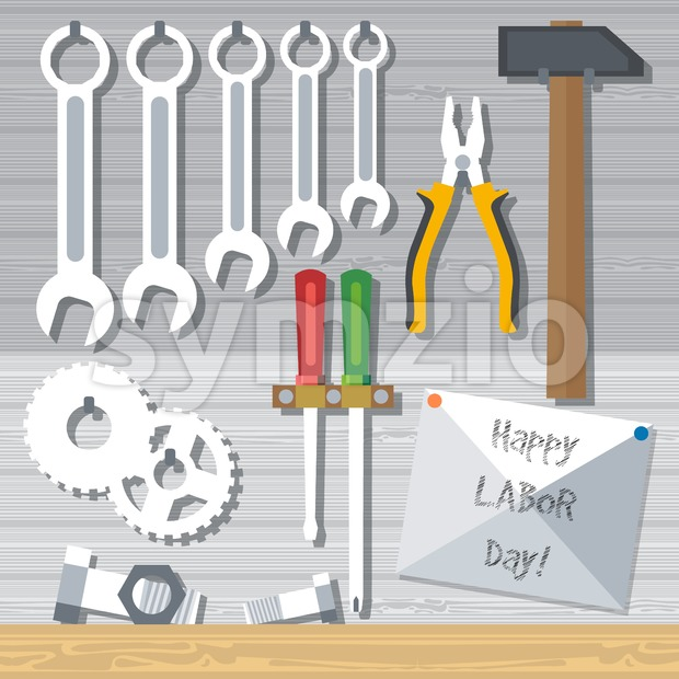 Happy Labor Day, with tools set. Digital vector image Stock Vector