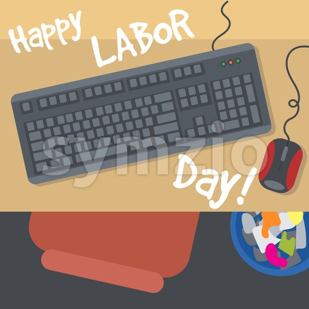 Happy Labor Day, with a table, keyboard, mouse and bin. View from top. Digital vector image