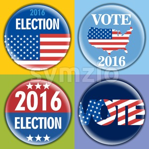 Election 2016 badge set with unites states of america flag. Digital vector image Stock Vector