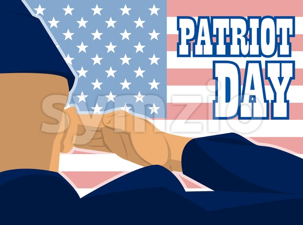 Patriot day card with the flag of unites states of america and a military soldier with hand gesture saluting. Digital vector image Stock Vector