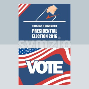 Usa 2016 election card with man hand with ballot. Digital vector image Stock Vector