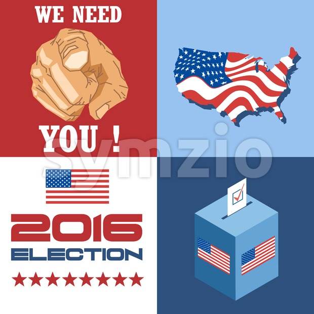 Usa 2016 election card with country map, vote box, and we need you slogan with hand. Digital vector image