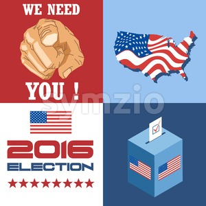 Usa 2016 election card with country map, vote box, and we need you slogan with hand. Digital vector image Stock Vector