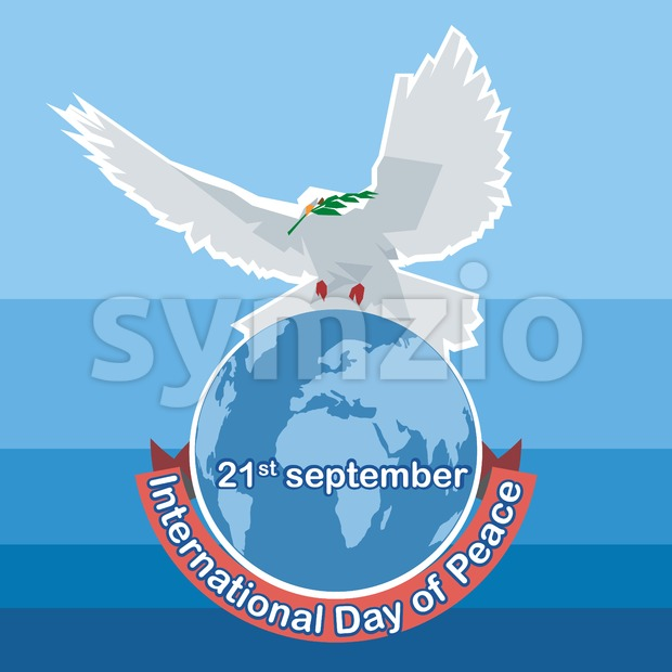 Vector International day of Peace. White dove with green branch on top of world map, over blue background. Stock Vector