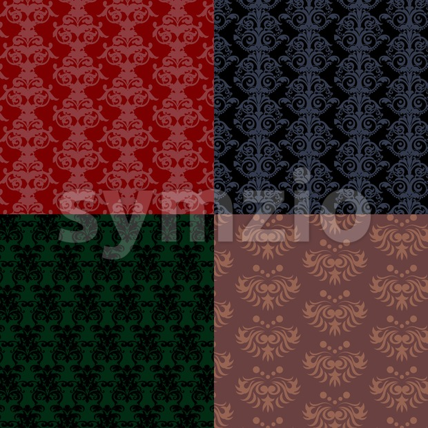 Patterns collection, red and green flat style. Digital vector image