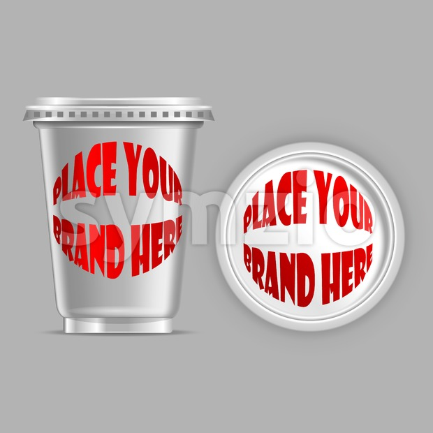 Vector silver plastic can mockup ready for your design