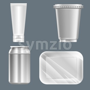 Vector set of silver plastic can with beverage can, food container and tube mockup ready for your design Stock Vector