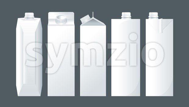 Vector set of white carton beverage pack for milk, juice and water mockup ready for your design Stock Vector