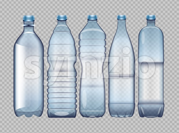 Vector set of blue transparent plastic bottle for juice and water mockup ready for your design Stock Vector