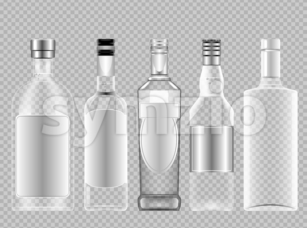 Vector set of transparent glass vodka alcohol bottle with caps for wine mockup ready for your design Stock Vector