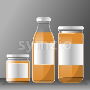 Vector set of transparent glass or plastic orange liquid bottle with caps for juice mockup ready for your design Stock Vector