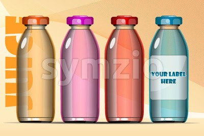 Vector set of transparent glass or plastic orange, blue, red and pink liquid bottle with caps for juice mockup ready for your design Stock Vector