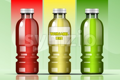 Vector set of transparent glass or plastic yellow, green and red liquid bottle with caps for juice mockup ready for your design Stock Vector