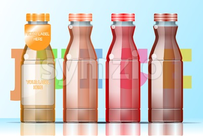 Vector set of transparent glass or plastic orange, burgundy and red liquid bottle with caps for juice mockup ready for your design Stock Vector