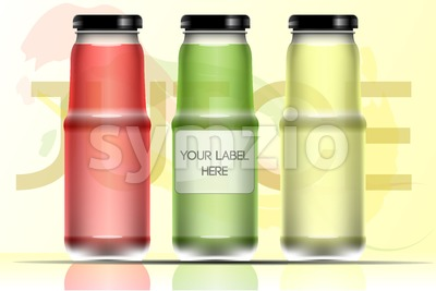 Vector set of transparent glass or plastic green, lime  and red liquid bottle with caps for juice mockup ready for your design Stock Vector