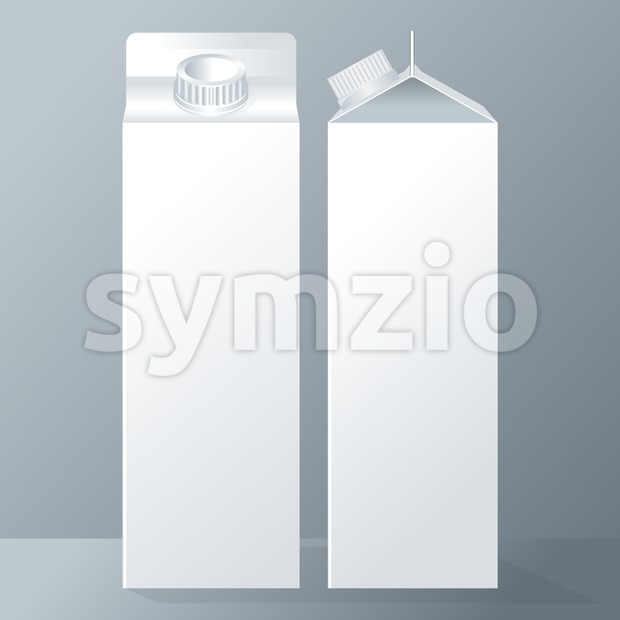 Vector set of white carton beverage pack for milk, juice and water with caps mockup ready for your design