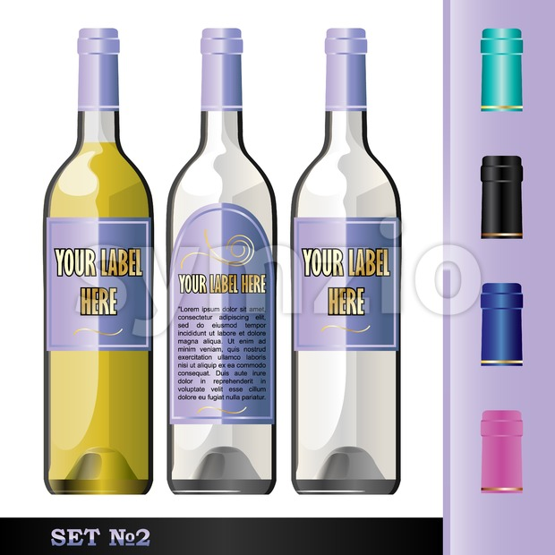 Vector wine bottles mockup with your label here text. White bottle and yellow wine. Black, green, blue and pink caps Stock Vector