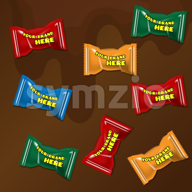 Vector set of colored polyethylene pack for candy and sweets mockup ready for your design