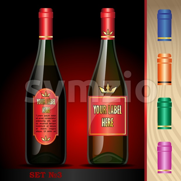 Vector wine bottles mockup with your label here text. Black bottle and red wine. Orange, green, blue and pink caps Stock Vector