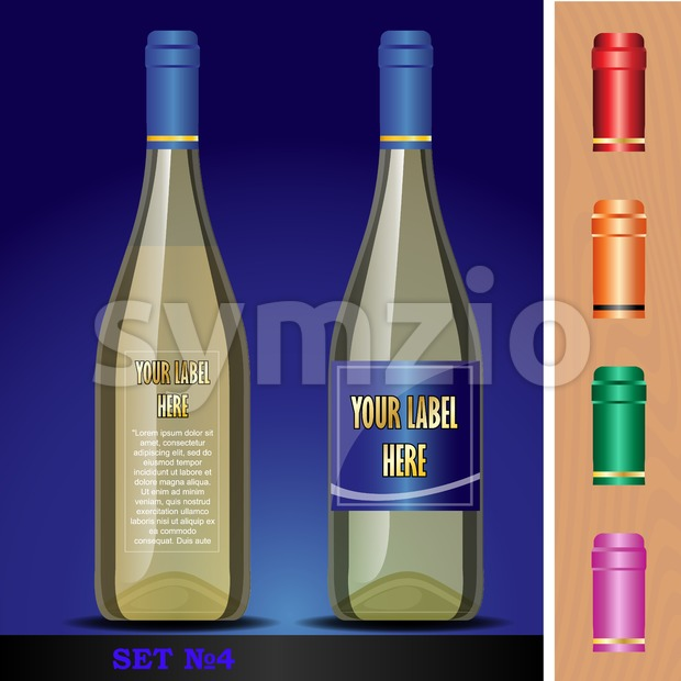 Vector wine bottles mockup with your label here text. Blue bottle and yellow wine. Red, orange, green and pink caps Stock Vector