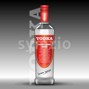 Vector red vodka bottle mockup with your label here text. Silver bottle with cap over black background Stock Vector