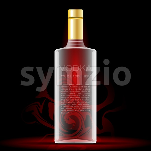 Vector vodka bottle mockup with your label here text. Silver bottle with cap over black background Stock Vector