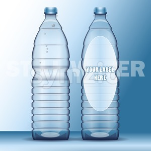 Vector set of transparent plastic blue liquid bottle with caps for mineral water mockup ready for your design Stock Vector