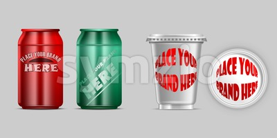 Vector red and green aluminium and silver plastic beverage drink can mockup ready for your design Stock Vector