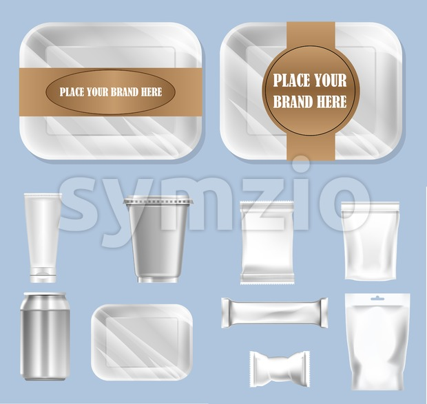 Vector set of food trail and white polyethylene foil package for sugar, bubble gum, sweets and candies mockup ready for ...
