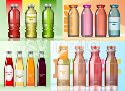 Vector set of transparent glass or plastic green, burgundy and purple liquid bottle with caps for juice mockup ready for your design Stock Vector