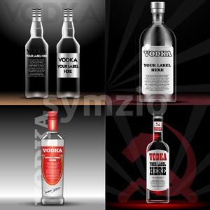 Vector red and transparent vodka bottle mockup with your label here text. Silver bottle with cap over black background Stock Vector