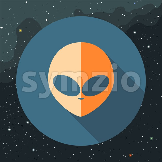 Digital vector with orange alien head sign, over background with stars, flat style Stock Vector