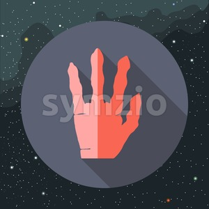 Digital vector with red alien hand with four fingers sign, over background with stars, flat style Stock Vector