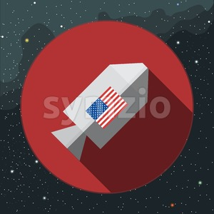 Digital vector with rocket space ship sign with usa flag, over background with stars, flat style Stock Vector