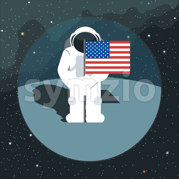 Digital vector with astronaut sign with usa flag in space, over background with stars, flat style Stock Vector
