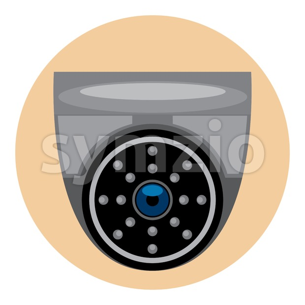 Digital vector silver and black surveillance camera icon, flat style. Stock Vector