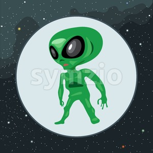 Digital vector green alien scary creature with big eyes icon, over background with stars, flat style. Stock Vector
